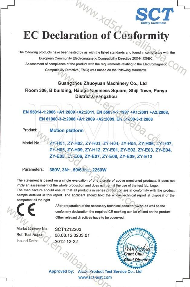 5D Motion Platform CE Certificate,7D Motion Platform CE Certificate,9D Motion Platform CE Certificate