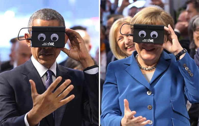 Obama, Angela Merkel Geek Out With VR Equipment (1)