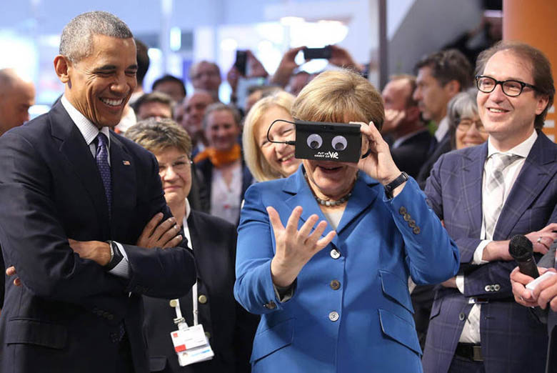 Obama, Angela Merkel Geek Out With VR Equipment (2)